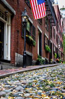 Boston Cobblestone Street w Flag